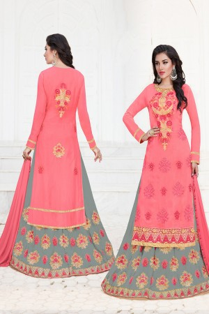 Fab Pink Georgette Heavy Embroidery on Neck with Butta Work Semi Stitch Salwar Kameez