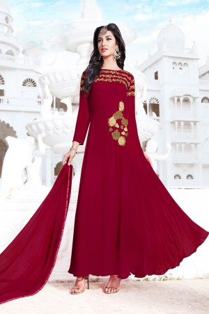 Graceful Red Georgette Heavy Embroidery on Neck with Patch Work Semi Stitch Salwar Kameez