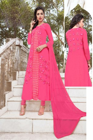 Picturesque Pink Georgette Heavy Embroidery on Top with Butti Work on Back Side Semi Stitch Salwar Kameez