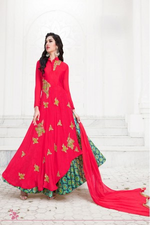 Beautiful Red Georgette Emboidery Patch Work Semi Stitch Salwar Kameez