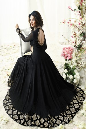Jennifer Winget Distinctive Black Georgette, Floor Length Resham and Zari Work Anarkali with Pure Velvet Lace Border, Back Work and Shibori Printed Dupatta Semi Stitch Anarkali Suit
