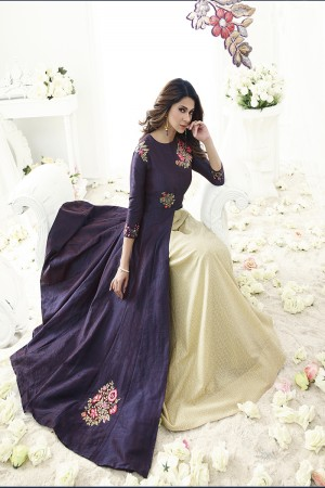 Jennifer Winget Dreamy Wine Two Ton Banarasi Silk Two Layer Suit with Resham and Zari Butta Work Semi Stitch Anarkali Suit
