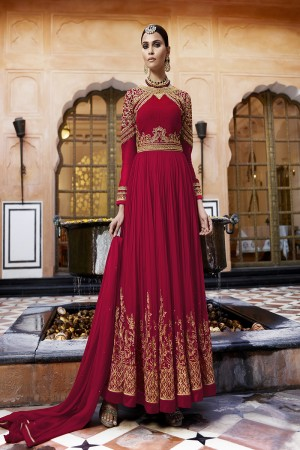 Modish Red Georgette Heavy Embroidery on Sleeve and Panel Work Semi Stitch Anarkali Suit