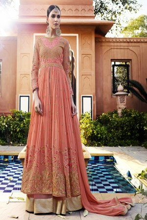 Gorgeous Orange Georgette Heavy Embroidery Zari and Butti Work with Embroidery Sleeve Work Semi Stitch Anarkali Suit