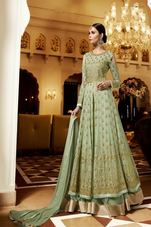 Splendiferous Apple Green Georgette Heavy Embroidery Zari and Butti Work with Embroidery Sleeve Work Semi Stitch Anarkali Suit