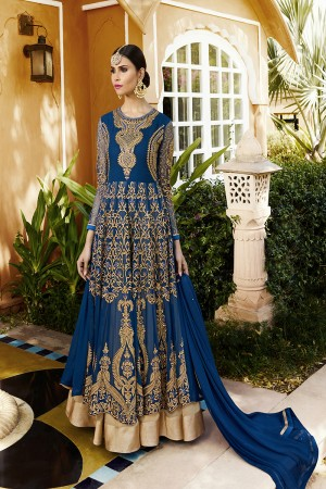 Voguish Blue Georgette Heavy Embroidery on Sleeve and Neck with Embroidery Kali Work Semi Stitch Anarkali Suit