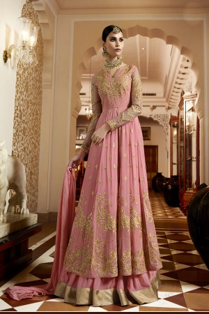 Attractive Pink Georgette Heavy Embroidery Zari and Butti Work with Embroidery Sleeve Work Semi Stitch Anarkali Suit