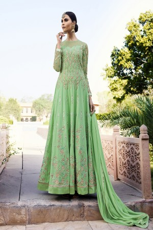 Fabulous Green Georgette Heavy Embroidery Zari Work with Diamond Semi Stitch Anarkali Suit