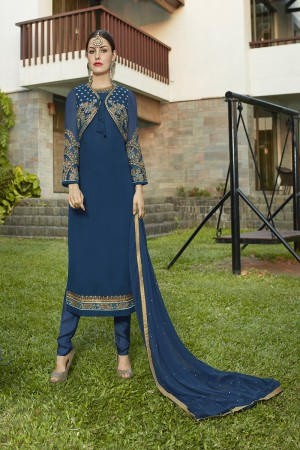Immaculate Marine Blue Georgette Heavy Embroidery on Neck and Sleeve with Lace Border Semi Stitch Stright Suit