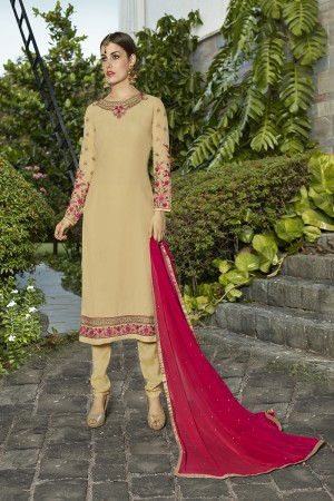 Definitive Chiku Georgette Heavy Embroidery on Neck and Sleeve with Lace Border Semi Stitch Stright Suit