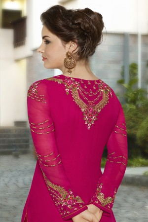 Decent Ranipink Georgette Heavy Embroidery on Neck and Sleeve with Lace Border Semi Stitch Stright Suit