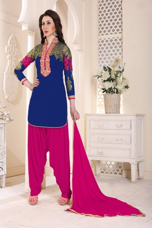 Glamorous Blue Geordette Heavy Embroidery on neckline and sleeve  Dress material