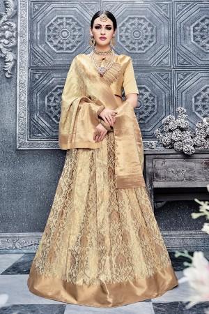 Fabulous Cream Banarasi Silk Designer Weaving Lehenga with Embroidery Blouse Lehenga Choli