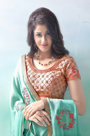 Dreamy Cyan Green Mose Chiffon Embroidery Patch Work with Embroidery Blouse Saree with Blouse