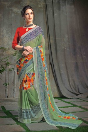 Sparkling Green Chiffon Printed Saree with Blouse