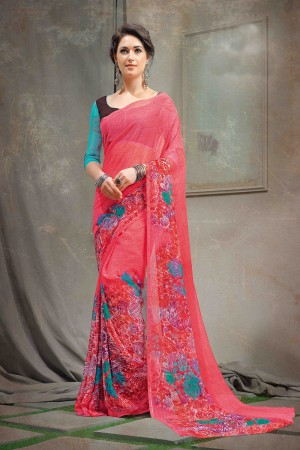 Vibrant Pink Chiffon Printed Saree with Blouse