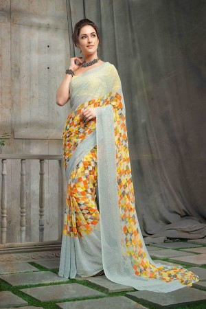 Marvelous Multi Color Chiffon Printed Saree with Blouse