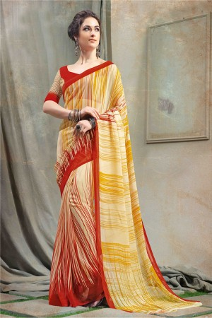 Peppy Yellow Chiffon Printed Saree with Blouse