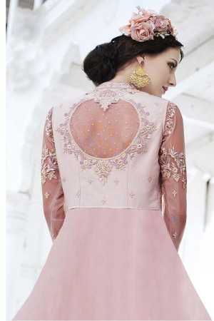 Enigmatic Pink Net Heavy Embroidery Kali Work with Diamond AnarkaliSuit