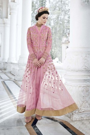 Exquisite Pink Net Heavy Embroidery Kali Work with Diamond AnarkaliSuit