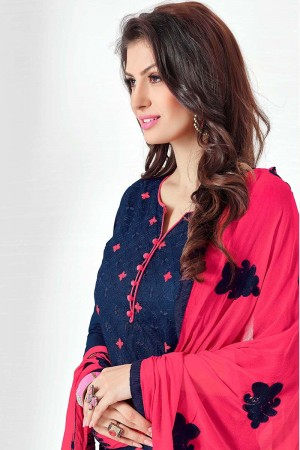 Awesome Blue Cotton Heavy Embroidery Top with Embroidery Dupatta  Dress material