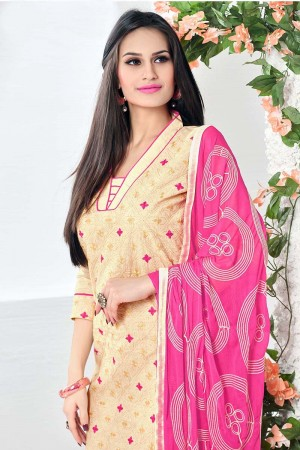 Eye catching Cream Cotton Heavy Embroidery Top with Embroidery Dupatta  Dress material