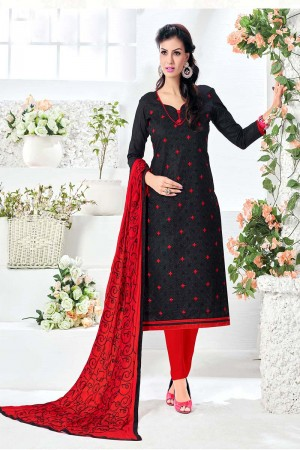 Dynamic Black Cotton Heavy Embroidery Top with Embroidery Dupatta  Dress material