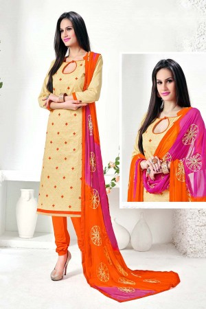 Outstanding Cream Cotton Heavy Embroidery Top with Embroidery Dupatta  Dress material