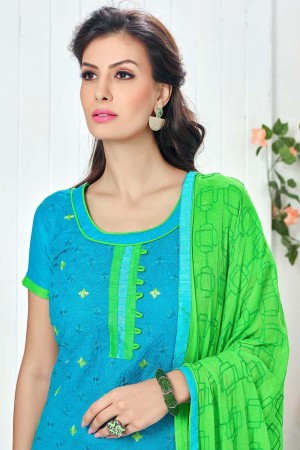 Delusive SkyBlue Cotton Heavy Embroidery Top with Embroidery Dupatta  Dress material