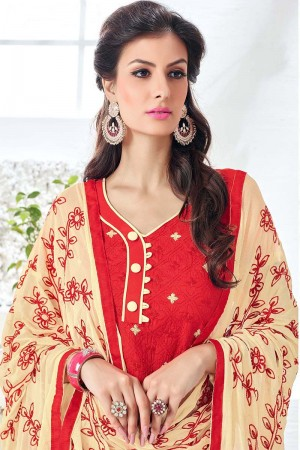Enigmatic Red Cotton Heavy Embroidery Top with Embroidery Dupatta  Dress material