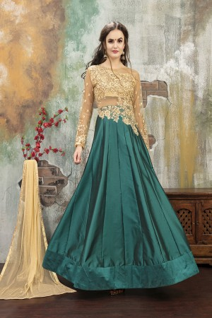 Brilliant RamaGreen TafettaSilk Heavy Embroidery on Neck and Sleeve with Diamond work SemiStitch Anarkali Suit