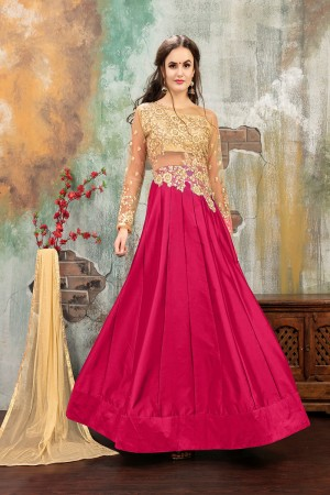 Enchanting Pink TafettaSilk Heavy Embroidery on Neck and Sleeve with Diamond work SemiStitch Anarkali Suit