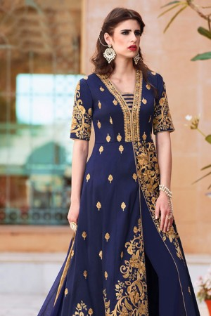 Majestic Blue TafettaSilk Heavy Embroidey Zari work with Diamond Anarkali Suit