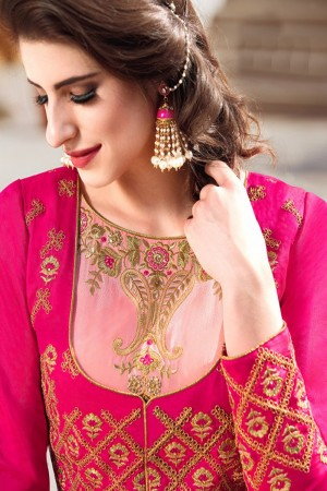Glossy Pink Banglori Silk Heavy Embroidey Zari work with Diamond Anarkali Suit