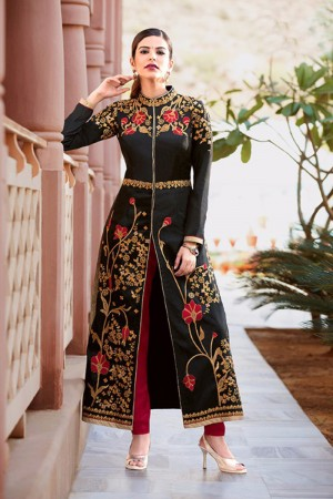 Sensuous Black TafettaSilk Heavy Embroidey Zari work with Diamond Anarkali Suit