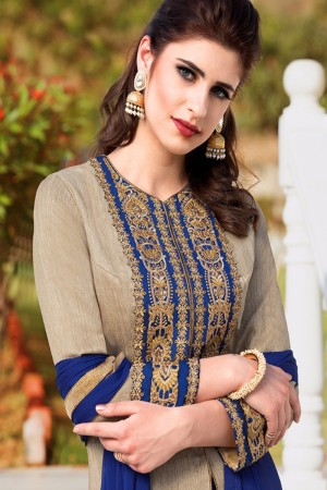 Aesthetic Chiku Filament Silk Heavy Embroidey Zari work with Diamond Anarkali Suit