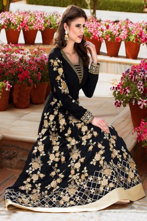 Beauteous Black Georgette Heavy Embroidey Zari work with Diamond Anarkali Suit