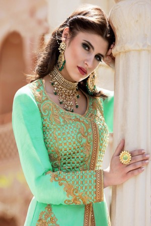 Adorable Pista Green Banglori Silk Heavy Embroidey Zari work with Diamond Anarkali Suit