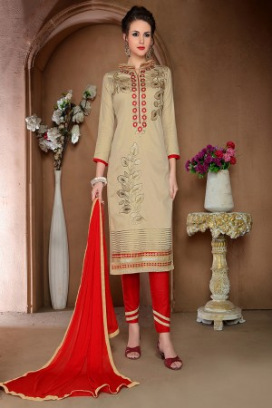 Blooming Beige Cotton Heavy Embroidery Top with Lace Border Dress Material