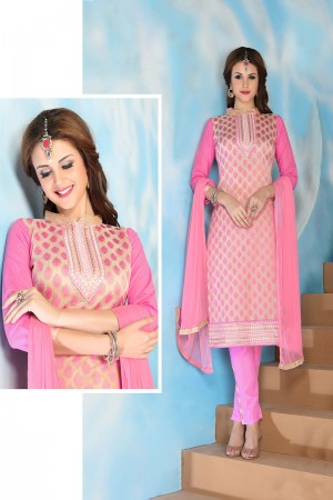 Exquisite Pink Cotton Heavy Embroidery Top with Lace Border Dress Material
