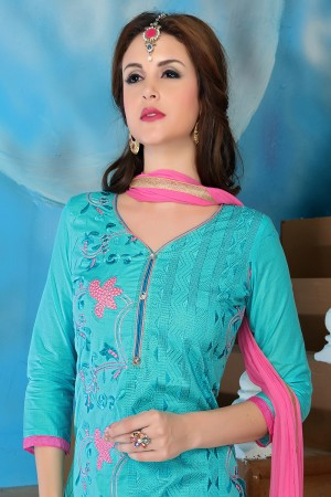 Brilliant Blue Cotton Heavy Embroidery Top with Lace Border Dress Material