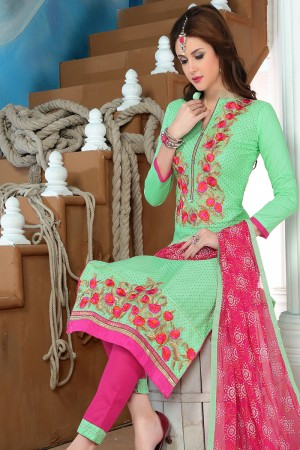 Creative Green Cotton Heavy Embroidery Top with Lace Border Dress Material