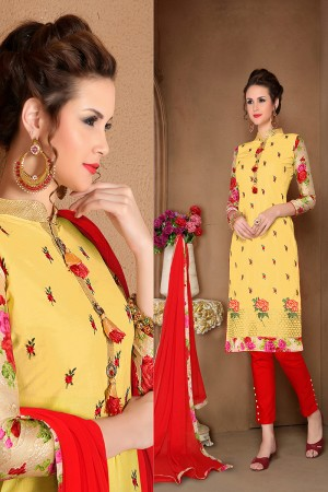 Striking Yellow Cotton Heavy Embroidery Top with Lace Border Dress Material
