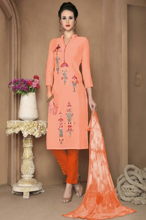 Enchanting Peach Cotton Heavy Embroidery Top with Lace Border Dress Material