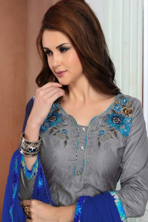 Mesmerising Grey Cotton Heavy Embroidery Top with Lace Border Dress Material