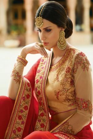 Alluring Red Silk Heavy Embroidery Resham Thread and Badala Zari Work Saree with Blouse