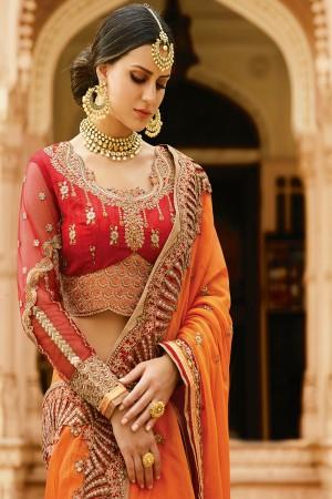 Fantastic Orange Silk Heavy Embroidery Resham Thread and Badala Zari Work Saree with Blouse