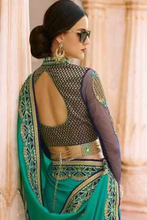 Fantastic Rama Silk Heavy Embroidery Resham Thread and Badala Zari Work Saree with Blouse