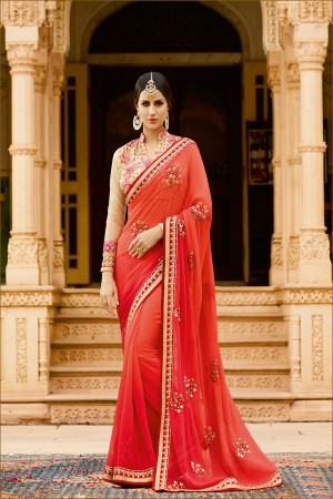 Majestic Orange Georgette Heavy Embroidery Resham Thread and Badala Zari Work Saree with Blouse