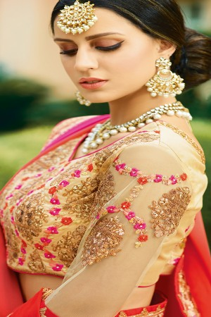 Glossy Red&Peach Georgette Heavy Embroidery Resham Thread and Badala Zari Work Saree with Blouse